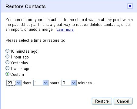 gmail contacts restore